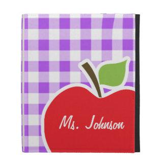 Purple Checkered Gingham; Apple iPad Folio Case