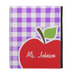 Purple Checkered Gingham; Apple iPad Folio Cover