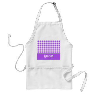 Purple Checkered Gingham; Cute Adult Apron