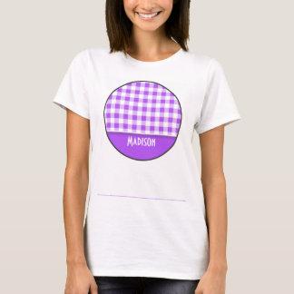Purple Checkered Gingham; Cute T-Shirt