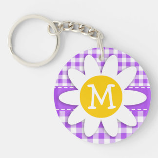 Purple Checkered Gingham; Daisy Double-Sided Round Acrylic Keychain