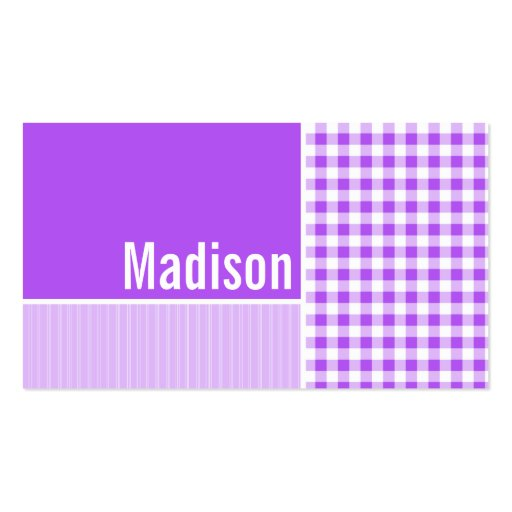 Purple Checkered Gingham Double-Sided Standard Business Cards (Pack Of 100)