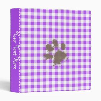 Purple Checkered Gingham; Funny Dog Binder