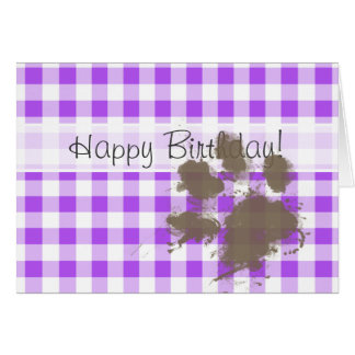 Purple Checkered Gingham; Funny Dog Card