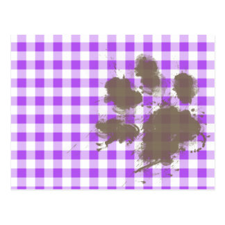 Purple Checkered Gingham; Funny Dog Postcard