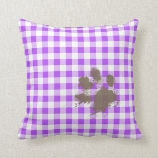 Purple Checkered Gingham; Funny Dog Throw Pillow