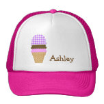 Purple Checkered Gingham; Ice Cream Cone Trucker Hat
