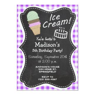 """Purple Checkered Gingham; Ice Cream Cone 5"""" X 7"""" Invitation Card"""