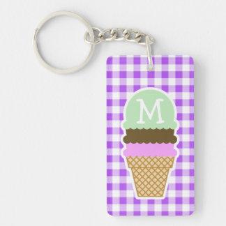Purple Checkered Gingham; Ice Cream Cone Keychain