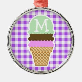 Purple Checkered Gingham; Ice Cream Cone Christmas Ornament