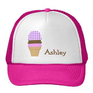 Purple Checkered Gingham; Ice Cream Cone Trucker Hat