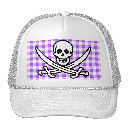 Purple Checkered Gingham Jolly Roger Mesh Hats