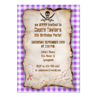 "Purple Checkered Gingham Jolly Roger 5"" X 7"" Invitation Card"