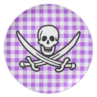Purple Checkered Gingham Jolly Roger Plates