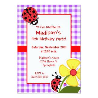 "Purple Checkered Gingham; Ladybug 5"" X 7"" Invitation Card"