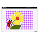 Purple Checkered Gingham; Ladybug Laptop Skins