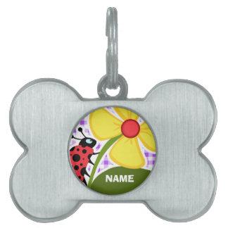 Purple Checkered Gingham; Ladybug Pet Name Tag