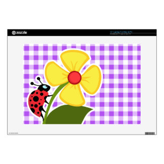 Purple Checkered Gingham; Ladybug Laptop Decal
