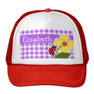 Purple Checkered Gingham; Ladybug Trucker Hat