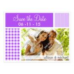 Purple Checkered Gingham Postcard