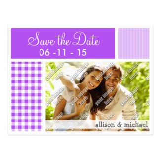 Purple Checkered Gingham Postcard