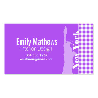 Purple Checkered Gingham; Statue of Liberty Business Card