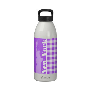 Purple Checkered Gingham; Statue of Liberty Drinking Bottles