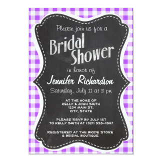 "Purple Checkered Gingham; Vintage Chalkboard 5"" X 7"" Invitation Card"