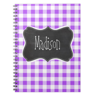 Purple Checkered Gingham; Vintage Chalkboard Spiral Note Book