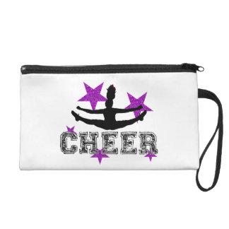 Purple cheerleader wristlet purse