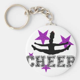 Purple Cheerleader Basic Round Button Keychain