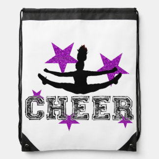 Purple cheerleader drawstring bag