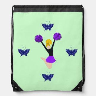 Purple Cheerleader with Blue Buttrflies Backpack