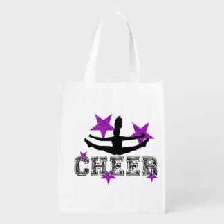 Purple cheerleader grocery bags