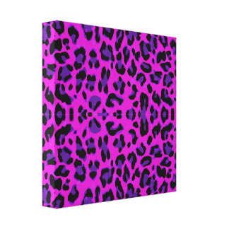 PURPLE CHEETAH ANIMAL STYLISH FASHION PATTERN BACK CANVAS PRINT