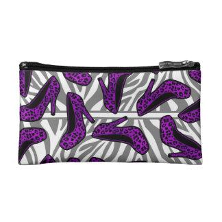 Purple Cheetah High Heel Shoe Print on Zebra Makeup Bag