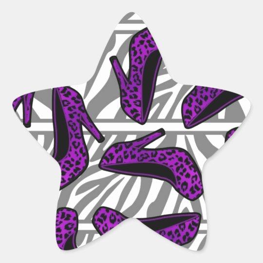 Purple Cheetah High Heel Shoe Print on Zebra Star Sticker