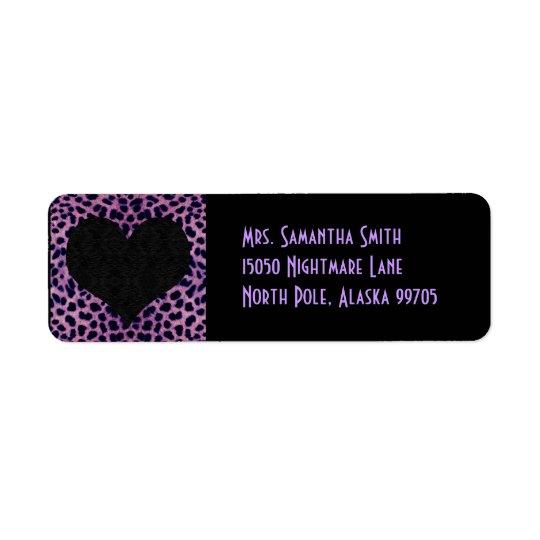 Purple Cheetah Print Black Heart - Custom Address Label