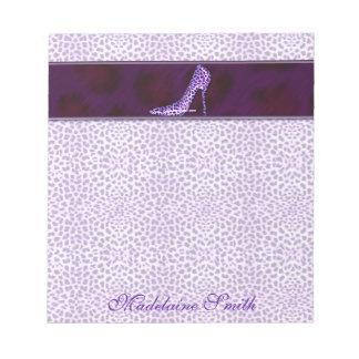 Purple Cheetah Print Personalized Notepad