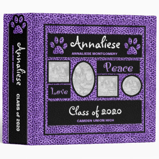 Purple Cheetah Print Photo School Binder
