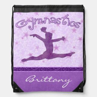 Purple Cheetah Print Stripe Gymnastics w/ Monogram Backpack