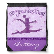Purple Cheetah Print Stripe Gymnastics w/ Monogram Drawstring Backpack