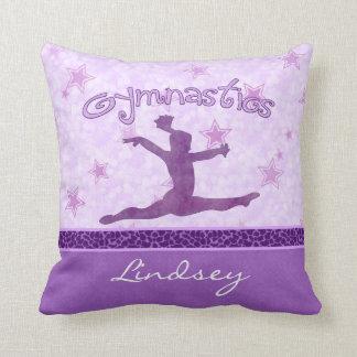 Purple Cheetah Print Stripe Gymnastics w/ Monogram Pillow