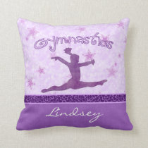 Purple Cheetah Print Stripe Gymnastics w/ Monogram Throw Pillow