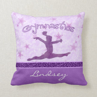 Purple Cheetah Print Stripe Gymnastics w/ Monogram Throw Pillow