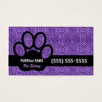 Purple Cheetah Print with Custom Paw Pet Sitter Business Card