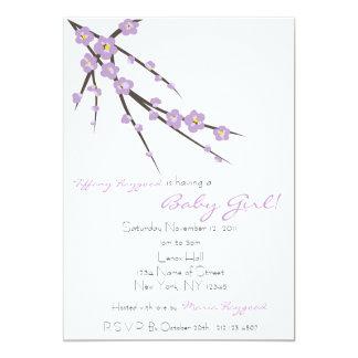 Purple Cherry Blossom Baby Shower Invite
