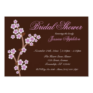 Purple Cherry Blossom Brown Bridal Shower Card