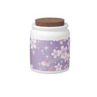 Purple Cherry Blossom Candy Jars