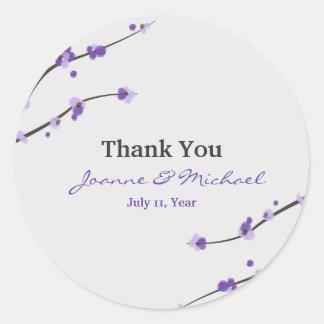 Purple Cherry Blossom Favour Stickers